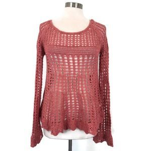 FREE PEOPLE Annabelle Pink Open Crochet Sweater